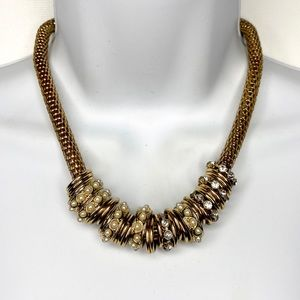 Mesh Gold Tone Rhinestone Faux Pearl Ring Necklace